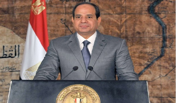 Egypt's President Abdel Fattah al-Sisi looks on as he delivers a speech in Cairo, in this July 7, 2014 handout photo provided by the Egyptian Presidency. Sisi warned world powers on Monday that Islamist militants are ravaging the Middle East and pose a threat to everyone's security. REUTERS/The Egyptian Presidency/Handout via Reuters (EGYPT - Tags: POLITICS)  ATTENTION EDITORS - THIS PICTURE WAS PROVIDED BY A THIRD PARTY. REUTERS IS UNABLE TO INDEPENDENTLY VERIFY THE AUTHENTICITY, CONTENT, LOCATION OR DATE OF THIS IMAGE. FOR EDITORIAL USE ONLY. NOT FOR SALE FOR MARKETING OR ADVERTISING CAMPAIGNS. THIS PICTURE IS DISTRIBUTED EXACTLY AS RECEIVED BY REUTERS, AS A SERVICE TO CLIENTS. NO SALES. NO ARCHIVES